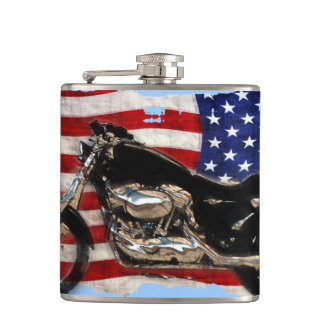 US Flag and Motorcycle Design Hip Flask