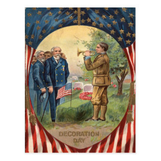 US Flag Bugle Taps Cemetery Wreath Postcard