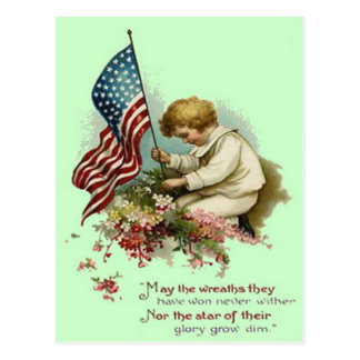 US Flag Child Wreath Memorial Day Postcard
