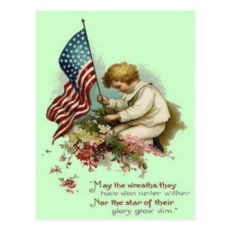 US Flag Child Wreath Memorial Day Postcard