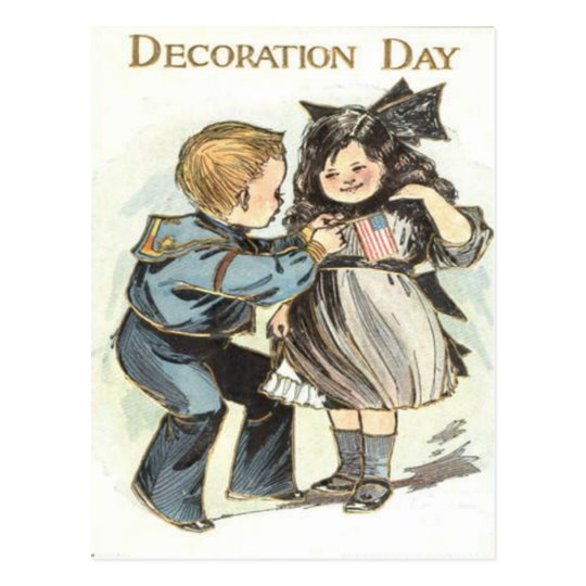 US Flag Children Uniform Decoration Day Postcard