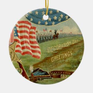 US Flag Civil War Union Medal Ceramic Ornament