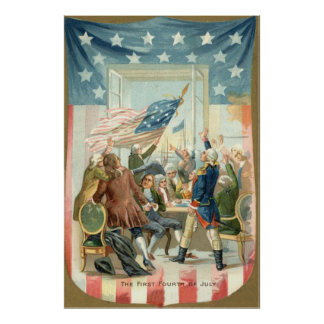 US Flag Congress First 4th of July Poster