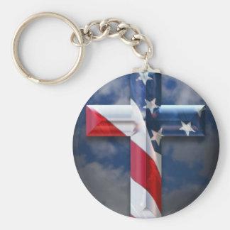US flag cross Basic Round Button Keychain
