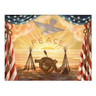 US Flag Dove Sun Peace Cannon Rifle Sunrise Postcard