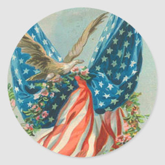 US Flag Eagle Rose Memorial Day Classic Round Sticker
