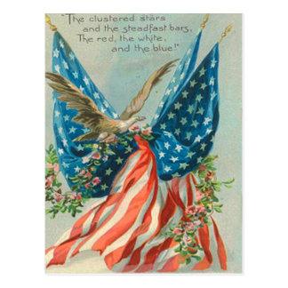 US Flag Eagle Rose Memorial Day Postcard