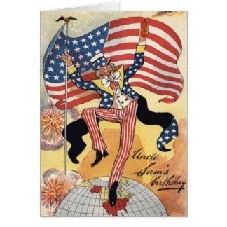 US Flag Fireworks Firecracker Uncle Sam Card