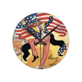 US Flag Fireworks Firecracker Uncle Sam Clock