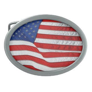 US Flag for American Patriots Oval Belt Buckle