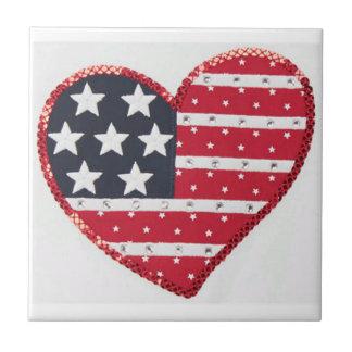 US flag heart tile
