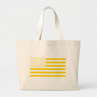 US flag in Ukrainian colors Large Tote Bag