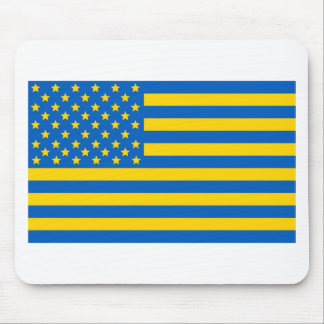 US flag in Ukrainian colors Mouse Pad