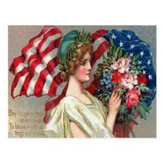 US Flag Lady Liberty Wreath Memorial Day Postcard