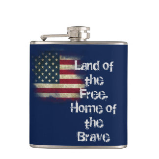 US Flag. Land of the Free, Home of the Brave Hip Flask