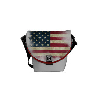 US Flag. Land of the Free, Home of the Brave Messenger Bags