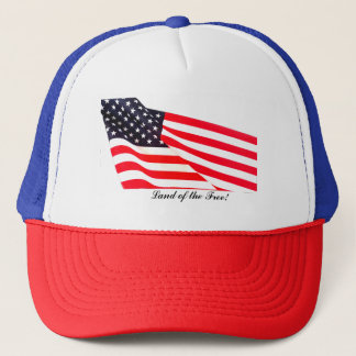 US Flag Land of the Free Trucker Hat