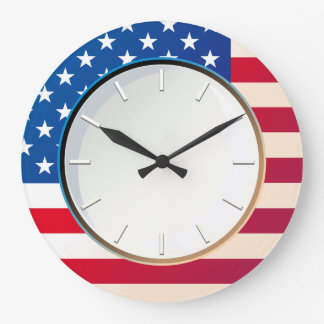 US Flag Large Clock