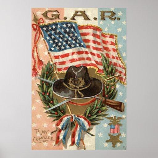 US Flag Medal Sword Rifle Wreath Print