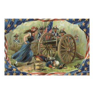 US Flag Molly Pitcher Cannon Poster