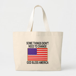 US Flag No Need For Change Large Tote Bag