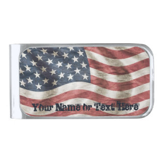 US Flag Old Glory Personalized Red, White and Blue Silver Finish Money Clip