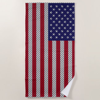 US Flag on Carbon Fiber Style Decor Beach Towel