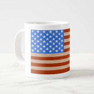 US Flag Painted on Wood Coffee Mug