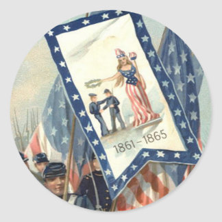 US Flag Parade March Civil War Lady Liberty Round Sticker