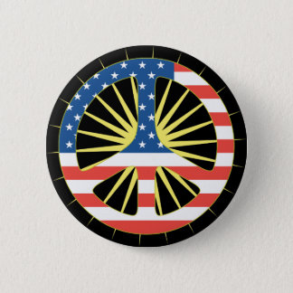 US Flag Peace Symbol 2 Inch Round Button