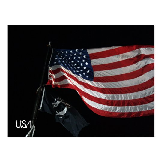 US Flag Postcard (With Writing)