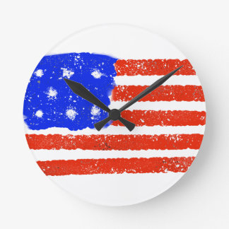 US Flag Raw Grit Round Clock