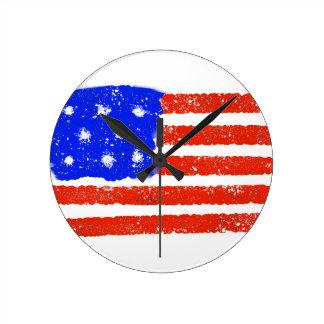 US Flag Raw Grit Round Clock