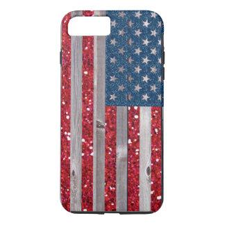 US Flag Red Blue Glitter Vintage Wood Panels iPhone 8 Plus/7 Plus Case