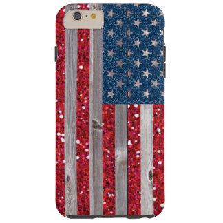 US Flag Red Blue Glitter Vintage Wood Panels Tough iPhone 6 Plus Case