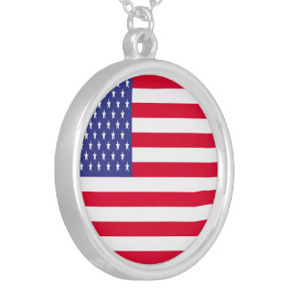 US Flag Silver Plated Necklace