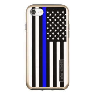 US Flag Thin Blue Line Symbolic on Incipio DualPro Shine iPhone 8/7 Case