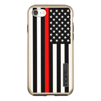 US Flag Thin Red Line Symbolic on Incipio DualPro Shine iPhone 8/7 Case