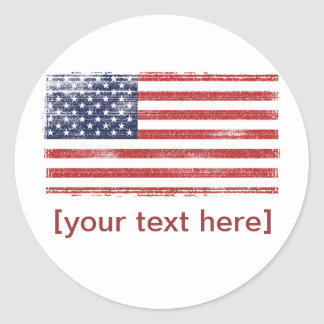 US flag vintage Classic Round Sticker