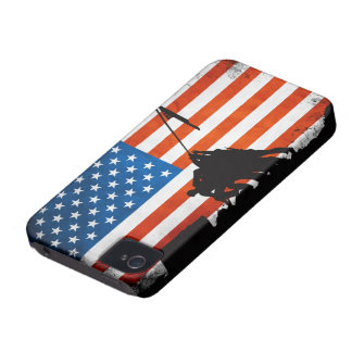 US Flag with Veterans Silhouettes Case-Mate iPhone 4 Cases