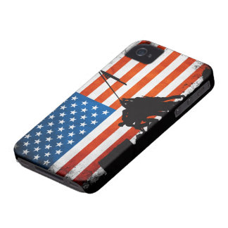 US Flag with Veterans Silhouettes iPhone 4 Case-Mate Cases