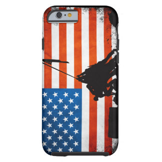 US Flag with Veterans Silhouettes Tough iPhone 6 Case