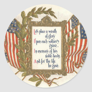 US Flag Wreath Memorial Day Round Sticker