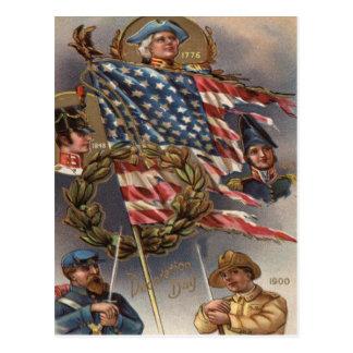 US Flag Wreath Military Memorial Day Postcard