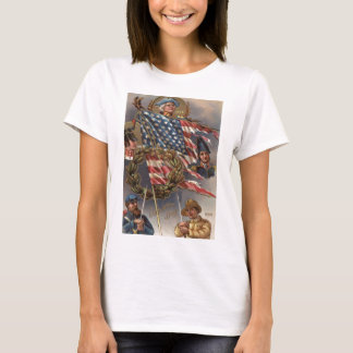 US Flag Wreath Military Memorial Day T-Shirt