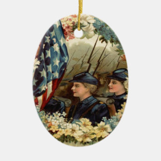 US Flag Wreath Parade March Civil War Ceramic Oval Ornament