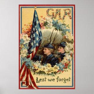 US Flag Wreath Parade March Civil War Poster