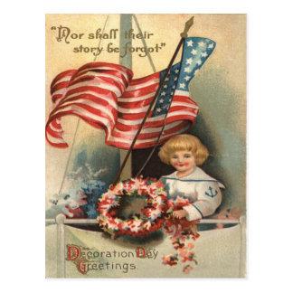 US Flag Wreath Ship Boy Uniform Memorial Day Postcard