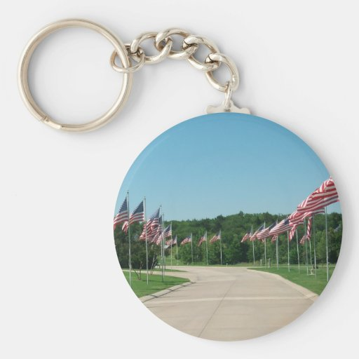 US Flags at DFW National Cemetery - Key Chain