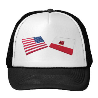 US & Gibraltar Flags Trucker Hat